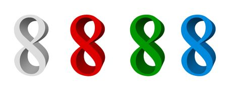 3D digit_8 (four colors: white, red, green, blue)