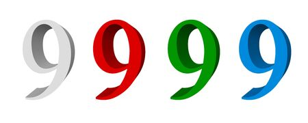 3D digit_9 (four colors: white, red, green, blue)