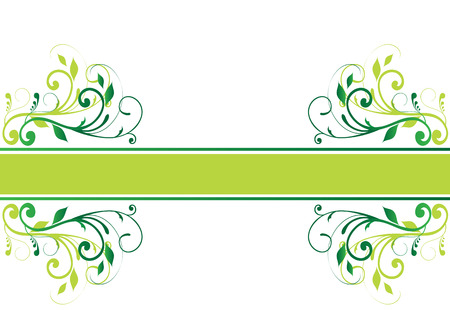 green swirl: Floral banner with space for text, on white background