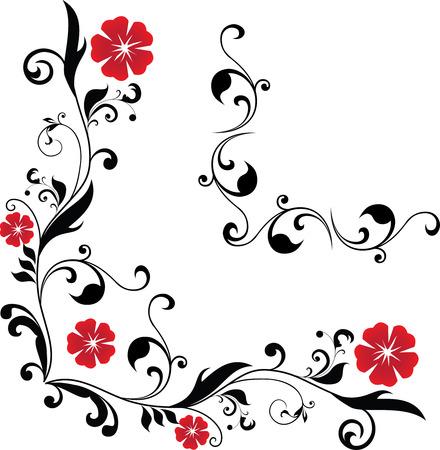 2 floral hoeken Stock Illustratie