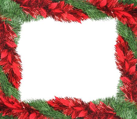 Christmas garland making a frame, with space for text Stock Photo