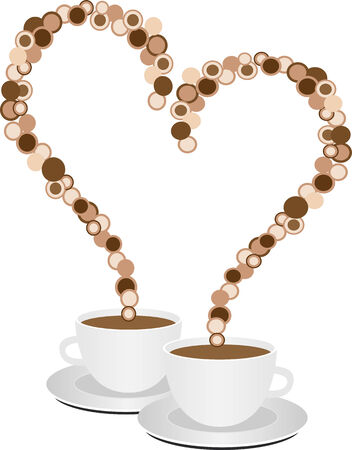 Valentine heart; two cups with coffee 向量圖像