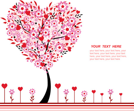 Valentine tree vector and flowers, heart shape, space for text Illusztráció