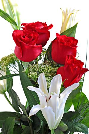 Bouquet red roses and white lily on white background Stock Photo