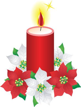クリスマス キャンドルとポインセチアの花