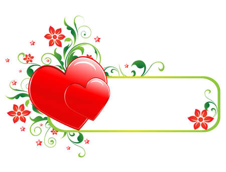 Valentine banner with space for text; hearts and flowers