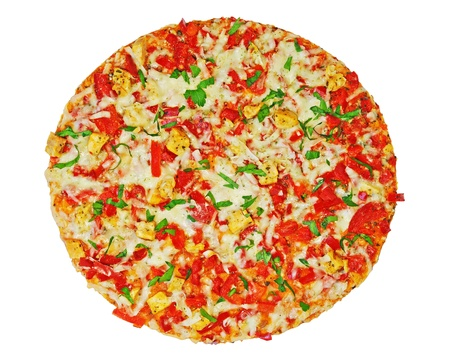 Delicious italien pizza with mozzarella, chicken meat, tomato, red pepper, parsley, isolated on white background