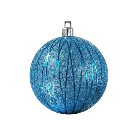 Elegant blue Christmas ball, isolated on white background