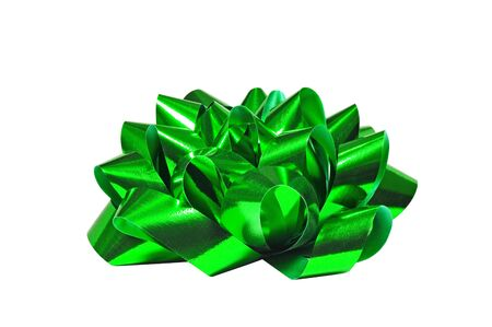 Green bow isolated on white background, for Christmas, birthday anniversary or Valentine presents Stock Photo