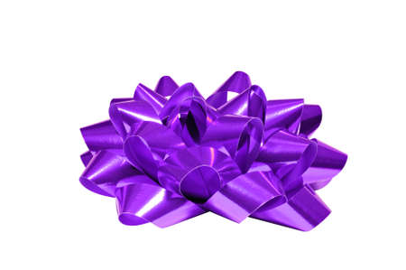 Purple bow isolated on white background, for Christmas, birthday anniversary or Valentine presents