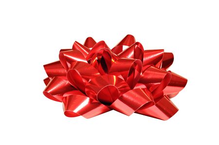 Red bow isolated on white background, for Christmas, birthday anniversary or Valentine presents Stock Photo