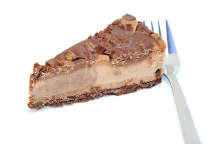Dessert - Delicious cheesecake with chocolate, on white background Stock Photo