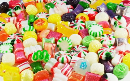 Background made of colorful candy, variety of bonbons