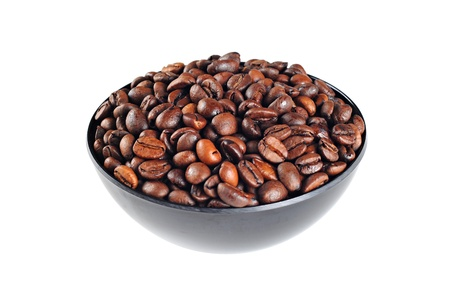 Bowl with coffee beans, isolated on white background