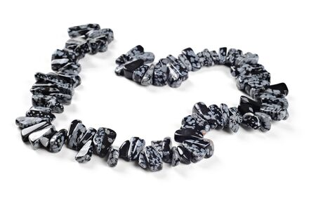 Beautiful necklace - snowflake obsidian nuggets, white background
