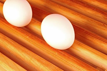 Fresh eggs on a wood