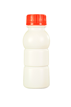 White plastic bottle with red cap, isolated on white background