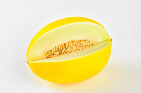 Yellow honeydew melon, on white background