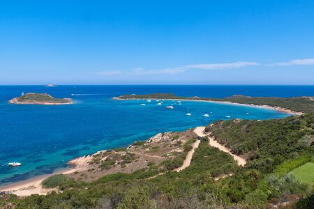 capo: Capo Codacavallo Beach in Sardinia with awesome blue water in a quiet and luxury sea bay