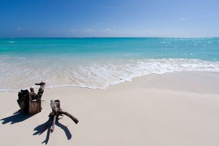 white sand: Tropical beach with white sand in front of the sea