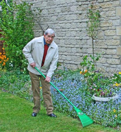 oap: Retired gentleman raking the garden Stock Photo
