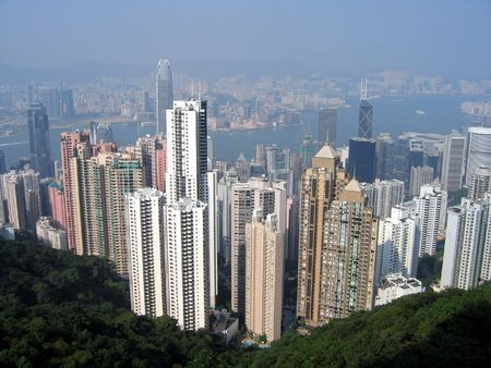 View of Hong Kong from a hill Stock Photo