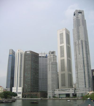Skyline of the business district in Singapore