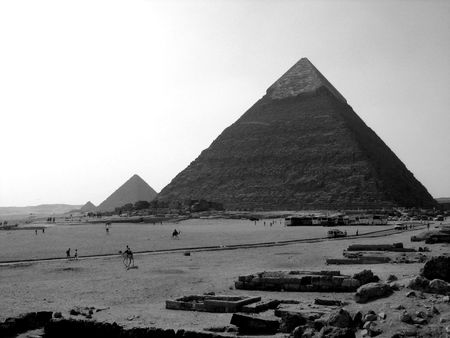 B&W shot of the three pyramids of Giza in Egypt Stock Photo