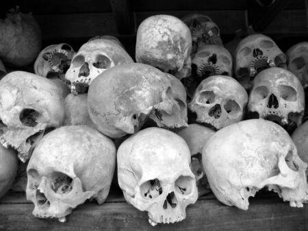 genocide: Human skulls in BW