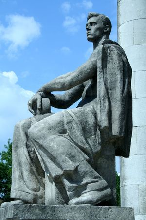 iron curtain: Communist worker statue near Palace of Culture in Warsaw, Poland
