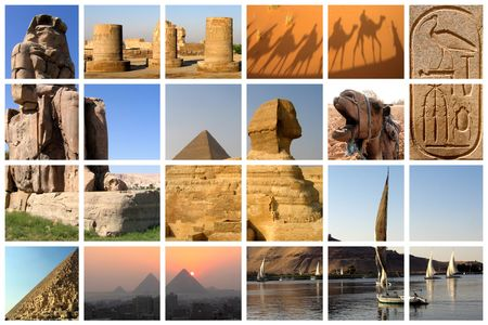 Famous landmarks of Egypt on a huge lattice collage