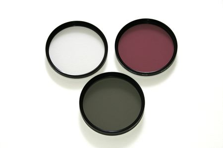 Three photographic filters for digital camera: UV, FLD and circular polarizing Stock fotó