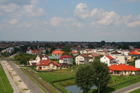 rural town: Panorama of a small rural town, village in Poland: Ciechanow Stock Photo