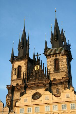 tyn: Church of Our Lady Before Tyn in Prague old town Stock Photo