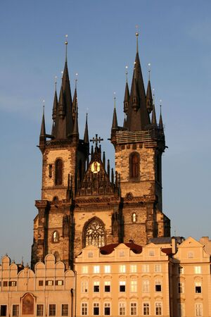 tyn: Church of Our Lady Before Tyn in Prague old town - shot during the golden hour Stock Photo