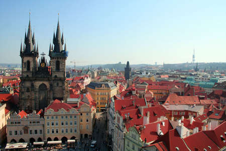 Overview of the Old Town square in Prague with the view of the Tyn church