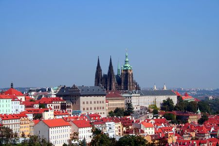 Overview of the Prague Castle with St. Vitus cathedral taken from the Petrin hill