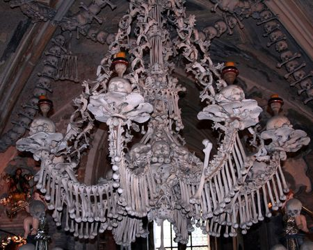 Chandelier at the Kutna Hora ossuary: a chapel made out of human bones
