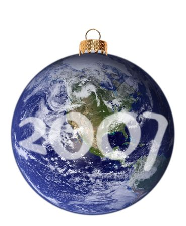 endorsement: Isolated Christmas ornament in the shape of planet Earth with the New Year 2007 written across the clouds. Image of planet Earth is provided by NASA and does not convey NASAs endorsement. Image provided can be used for commercial purposes, for guidelines