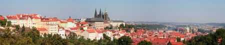 Panorama of Prague catle, old town and the Hradcany district Stock Photo