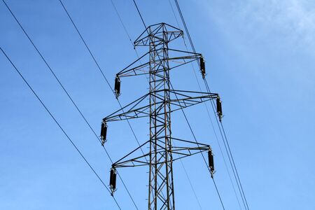 Electric power utility pole: part of the power grid Stock Photo