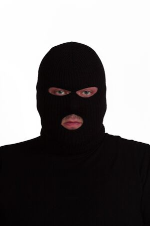 larceny: Criminal series 6 - convict wearing a ski mask (balaclava) Stock Photo
