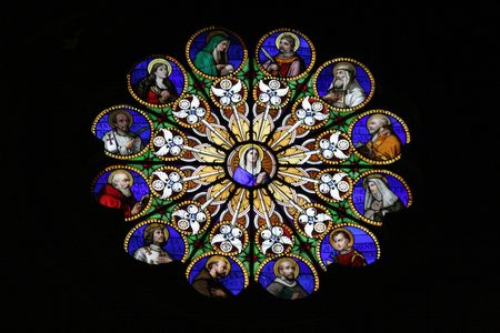 rose window: Beautiful stained glass window in church of Santa Maria Sopra Minerva in Rome