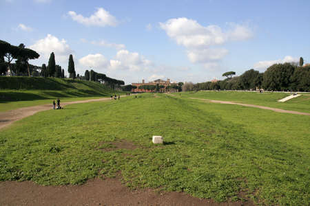 Circus Maximus: ancient Roman stadium near the site of birthplace of Rome, the Palatine hill Stock Photo