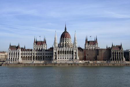the danube: View of Hungarian Parliament across the Danube river in Budapest