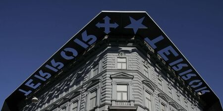 communists: The facade of House of Terror (Terror Haza) in Budapest, a museum remembering regimes of the fascists and the communists Stock Photo