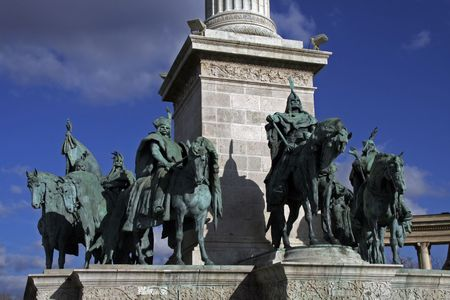 Hungarian kings monument at the Heroes Square (Hos�k tere) in Hungarian capital of Budapest Stock Photo