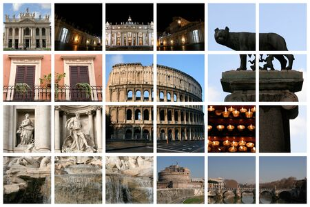 angels fountain: Fabulous Rome collage with famous landmarks and views presented on a huge lattice Stock Photo