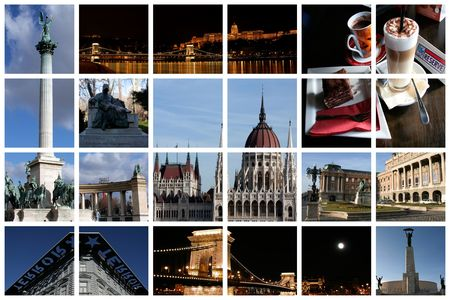 Fabulous Budapest collage with famous landmarks and views presented on a huge lattice photo