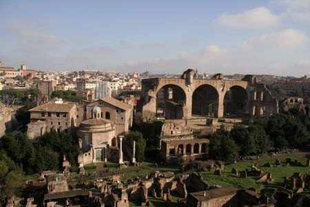 Birdseye view of Forum Romanum with Santi Cosma e Damiano (Temple of Romulus) and Basilica of Maxentius visible photo